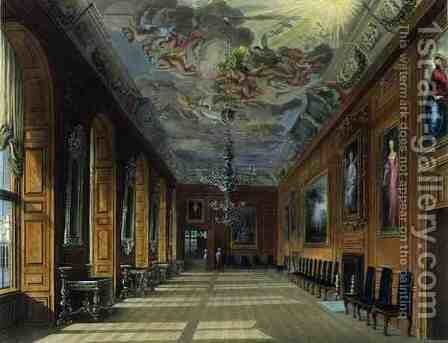 The Ball Room, Windsor Castle, from Royal Residences, engraved by Thomas Sutherland (b.1785), pub. by William Henry Pyne (1769-1843), 1817 by Charles Wild - Reproduction Oil Painting