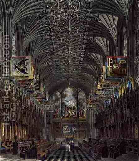 The Choir, St. Georges Chapel, Windsor Castle, from Royal Residences, engraved by Thomas Sutherland (b.1785), pub. by William Henry Pyne (1769-1843), 1819 by Charles Wild - Reproduction Oil Painting