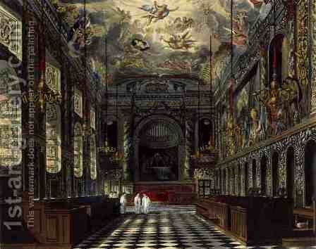 The Royal Chapel, Windsor Castle, from Royal Residences, engraved by Thomas Sutherland (b.1785), pub. by William Henry Pyne (1769-1843), 1819 by Charles Wild - Reproduction Oil Painting