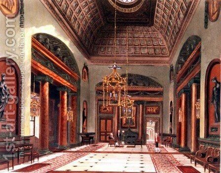The Entrance Hall, Carlton House, engraved by R. Reeve, pub. 1819 by W.H.Pyne by Charles Wild - Reproduction Oil Painting