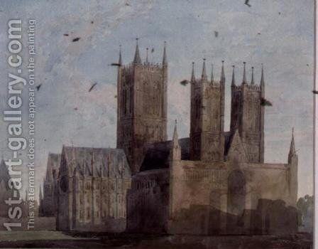 View of Lincoln Cathedral by Charles Wild - Reproduction Oil Painting