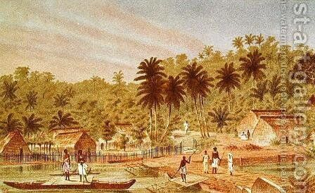 Village of Ngaloa, Kandan, Fiji, from At Anchor by J.J. Wild by J.J. Wild - Reproduction Oil Painting