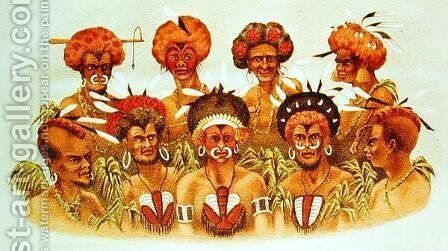 Natives of Humboldt Bay, from At Anchor by J.J. Wild by J.J. Wild - Reproduction Oil Painting