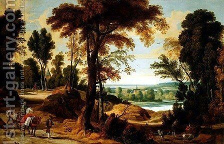 A wooded river landscape with figures on a road by Jan Wildens - Reproduction Oil Painting