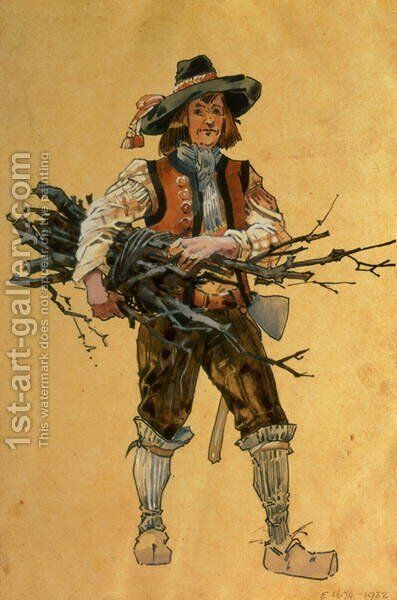 "A Forester, costume design for ""As You Like It"", produced by R. Courtneidge at the Princes Theatre, Manchester by C. Wilhelm - Reproduction Oil Painting"