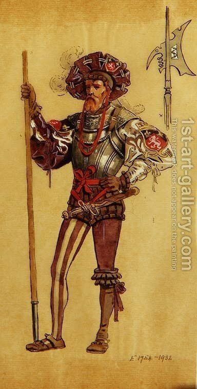 An Armoured Courtier, costume design for As You Like It, produced by R.Courtneidge at the Princes Theatre, Manchester by C. Wilhelm - Reproduction Oil Painting