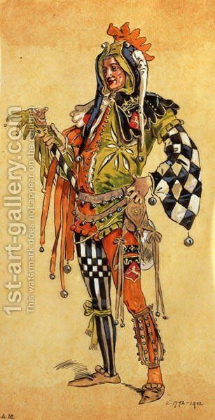 "Touchstone the Clown, costume design for ""As You Like It"", produced by R. Courtneidge at the Princes Theatre, Manchester by C. Wilhelm - Reproduction Oil Painting"