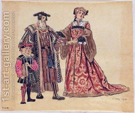 """Rosalind and the Old Duke, costume design for """"As You Like It"""", produced by R. Courtneidge at the Princes Theatre, Manchester by C. Wilhelm - Reproduction Oil Painting"""