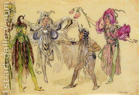 Four Fairy Costumes for A Midsummer Nights Dream produced by Robert Courtneidge at the Princes Theatre, Manchester, 1896-1903 by C. Wilhelm - Reproduction Oil Painting