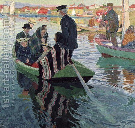 Church Goers in a Boat, 1909 by Carl Wilhelm Wilhelmson - Reproduction Oil Painting