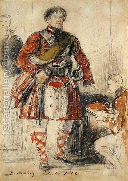 George IV in Highland Dress at the Palace of Holyrood, 1822 by Sir David Wilkie - Reproduction Oil Painting