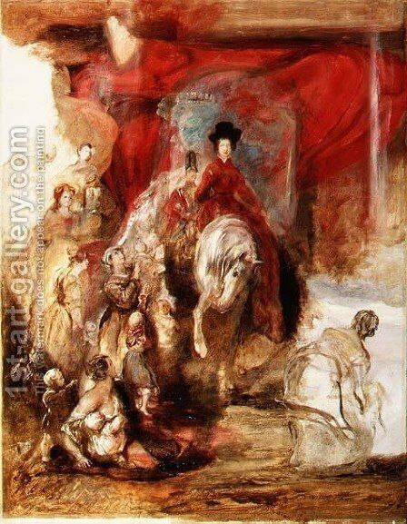Queen Victoria on Horseback by Sir David Wilkie - Reproduction Oil Painting