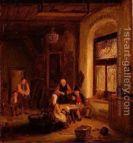 Interior with Figures by a Window by Sir David Wilkie - Reproduction Oil Painting