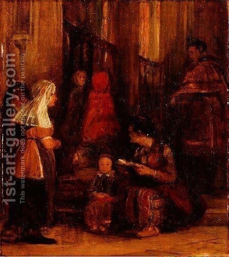 Seven Figures in a Church by Sir David Wilkie - Reproduction Oil Painting