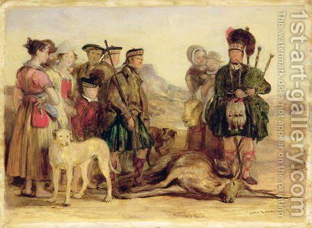 The Death of the Red Deer, with McIntyre and McGregor, Stalker and Piper to the Duke of Atholl, 1821 by Sir David Wilkie - Reproduction Oil Painting