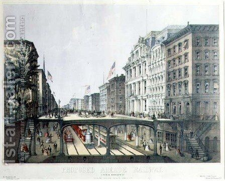 Proposed Arcade Railway, under Broadway, view near Wall Street, pub. by Ferd. Mayer and Sons, New York, 1869 by (after) Will, August - Reproduction Oil Painting