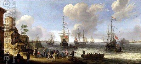 Dutch Warships in an Estuary by Adam Willaerts - Reproduction Oil Painting