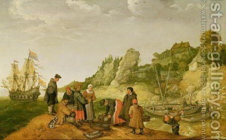 Fisherman unloading and selling their catch on a rocky shoreline by Adam Willaerts - Reproduction Oil Painting