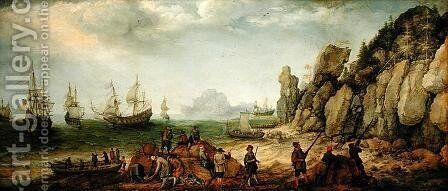 Wild goat hunting on the coast, 1620 by Adam Willaerts - Reproduction Oil Painting