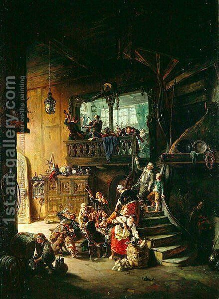 Hostelry Life, 1865 by August Levin von Wille - Reproduction Oil Painting