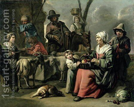 Peasant Family at a Well by Abraham Willemsens - Reproduction Oil Painting