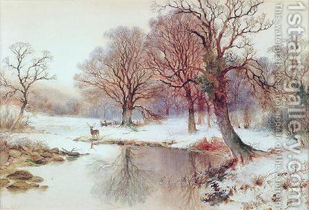 Snowy Landscape with Deer by Arthur Willett - Reproduction Oil Painting