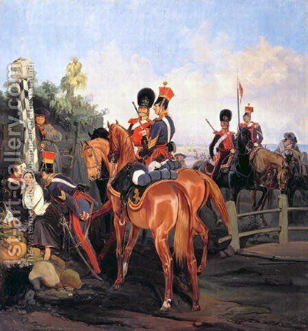At the Mile Stone, 1859 by Bogdan Willewalde - Reproduction Oil Painting