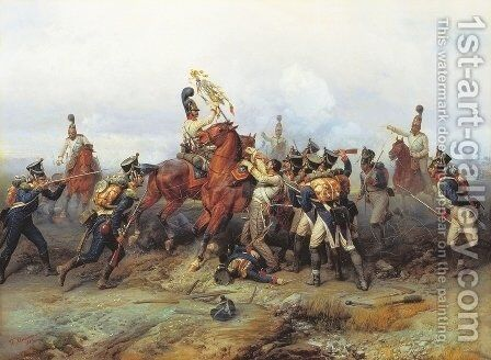 The Exploit of the Mounted Regiment in the Battle of Austerlitz, 1884 by Bogdan Willewalde - Reproduction Oil Painting