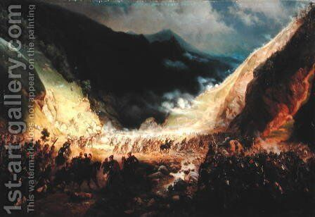 Battle at the Rotenturm canyon, 1871 by Bogdan Willewalde - Reproduction Oil Painting