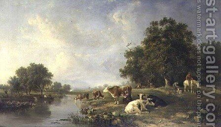 Landscape with cattle by Edward Williams - Reproduction Oil Painting