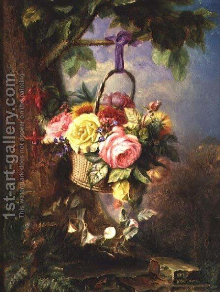 Basket of Roses with fuschia by Edward Charles Williams - Reproduction Oil Painting