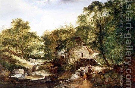 A Wooded river landscape by Edward Charles Williams - Reproduction Oil Painting