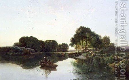 A Wooded River Landscape, 1855 by Edward Charles Williams - Reproduction Oil Painting