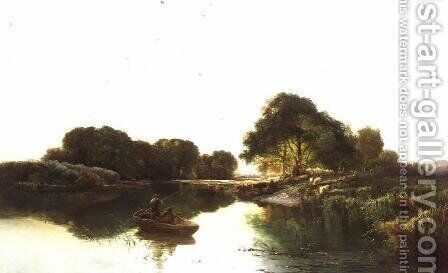 A River Landscape with Anglers Fishing by Edward Charles Williams - Reproduction Oil Painting