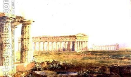 The Temples at Paestum, 1829 by Hugh William Williams - Reproduction Oil Painting