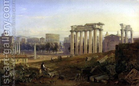 Across the Forum, Rome, 1828 by Hugh William Williams - Reproduction Oil Painting