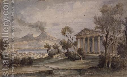 PD.255-1985 The Villa Saliceti, Naples below and Mt. Vesuvius in the distance, 181 by Hugh William Williams - Reproduction Oil Painting