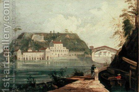 Fairmount Waterworks, after an engraving by W. H. Bartlett of c.1835 by Isaac Williams - Reproduction Oil Painting