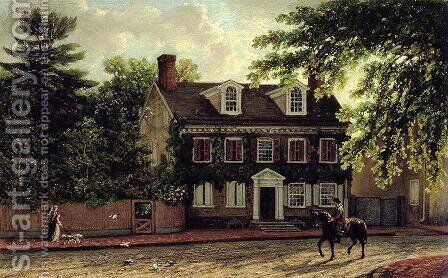 Washingtons Residence in Germantown, c.1880 by Isaac Williams - Reproduction Oil Painting