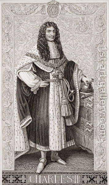 Charles II (1630-85) from Illustrations of English and Scottish History Volume I by (after) Williams, J.L. - Reproduction Oil Painting