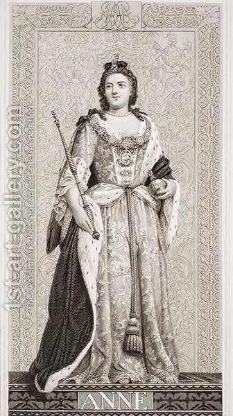 Queen Anne (1665-1714) from Illustrations of English and Scottish History Volume II by (after) Williams, J.L. - Reproduction Oil Painting