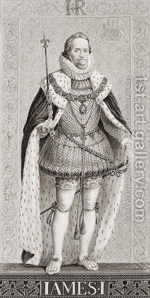 James I (1566-1625) from Illustrations of English and Scottish History Volume I by (after) Williams, J.L. - Reproduction Oil Painting