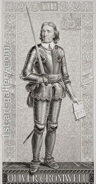 Oliver Cromwell (1599-1658) from Illustrations of English and Scottish History Volume I by (after) Williams, J.L. - Reproduction Oil Painting