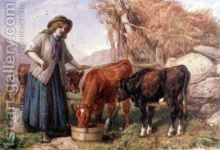 Feeding Time, 1862 by Henry Brittan Willis, R.W.S. - Reproduction Oil Painting