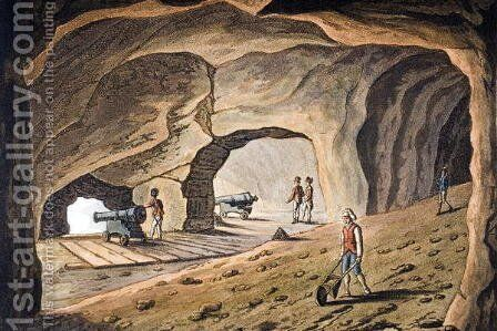 Inside a gallery on the Rock of Gibraltar, engraved by Joseph Constantine Stadler (fl.1780-1812) by (after) Willyams, Cooper - Reproduction Oil Painting