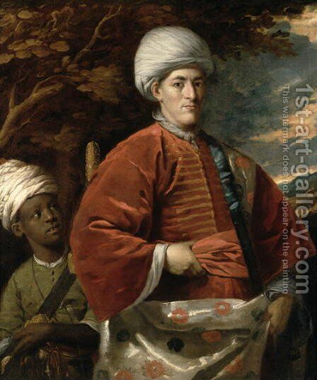 Portrait of a Gentleman in Oriental Dress with an Oriental Pageboy by Benjamin Wilson - Reproduction Oil Painting