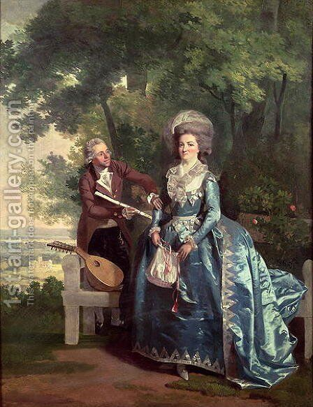 A lady and gentleman in a landscape by Benjamin Wilson - Reproduction Oil Painting