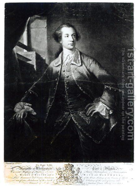 Portrait of Charles Watson-Wentworth, second Marquis of Rockingham (1730-82), engraved by Richard Houston (1721-75) by Benjamin Wilson - Reproduction Oil Painting