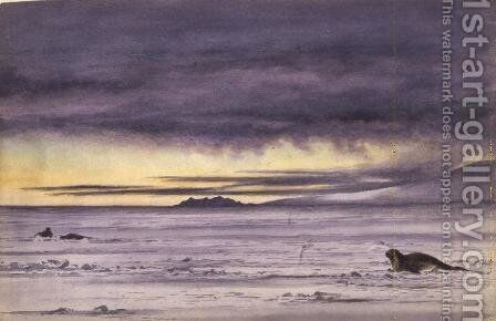 Looking North up McMurdo Strait, Midday, 26th July 1902 by Edward Adrian Wilson - Reproduction Oil Painting