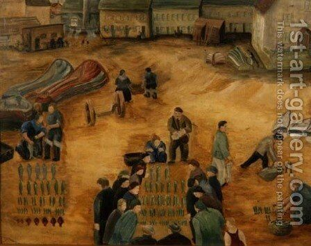 Fish Sale, 1938 by Harry Mitten Wilson - Reproduction Oil Painting